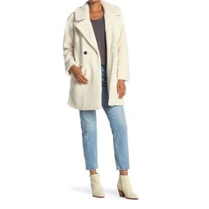 NWT Lucky Brand Faux Teddy Fur Coat in White